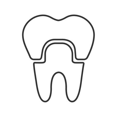 Dental crown linear icon. Thin line illustration. Tooth restoration. Contour symbol. Vector isolated outline drawing
