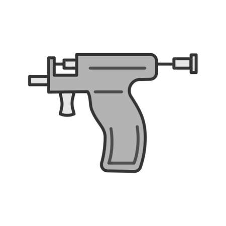 Piercing gun color icon. Ear piercing instrument. Isolated vector illustration