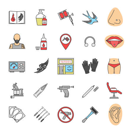 Tattoo studio color icons set. Piercing service. Tattoo sketches, instruments and equipment. Isolated vector illustrations