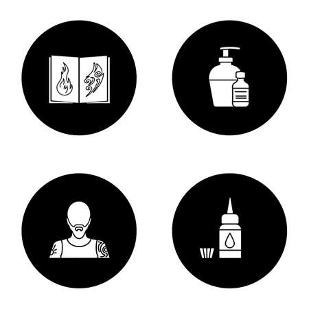 Tattoo studio glyph icons set. Piercing service. Tattoo sketches book, antibacterial liquid, tattooist, ink bottle and cap. Vector white silhouettes illustrations in black circles