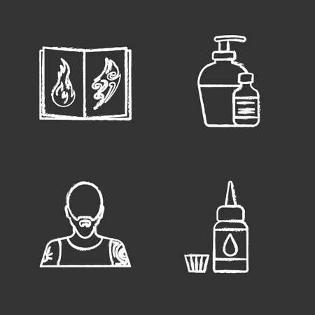 Tattoo studio chalk icons set. Piercing service. Tattoo sketches book, antibacterial liquid, tattooist, ink bottle and cap. Isolated vector chalkboard illustrations