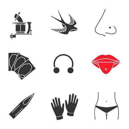 Tattoo studio glyph icons set. Tattoo machine, swallow, pierced nose and tongue, plaster, earring, needle tip, medical gloves, navel piercing. Silhouette symbols. Vector isolated illustration