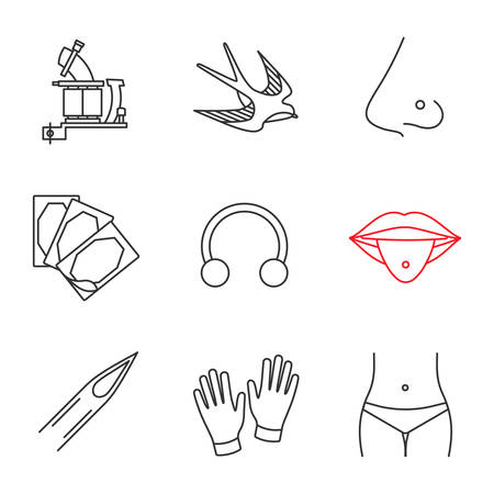 Tattoo studio linear icons set. Tattoo machine, swallow, pierced nose and tongue, plaster, ring, needle, medical gloves, piercing. Thin line contour symbols. Isolated vector outline illustrations