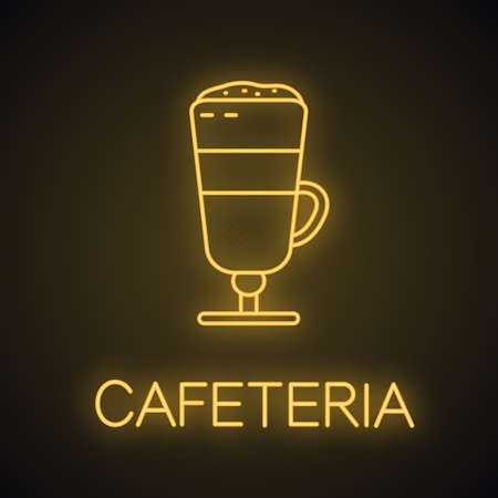 Latte macchiato neon light icon. Cofee house glowing sign. Cafeteria. Vector isolated illustration Ilustração