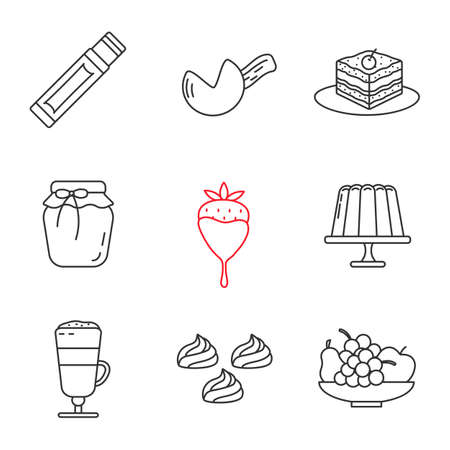 Confectionery linear icons set. Chewing gum stick, fortune cookie, tiramisu, berry jam, strawberry in chocolate, pudding, coffee, meringues, fruit. Contour symbol. Isolated vector outline illustration