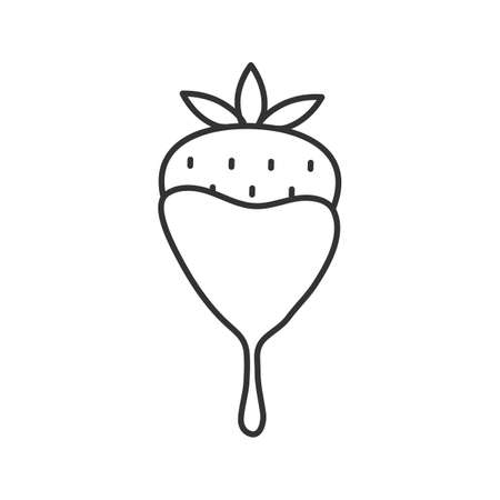 Chocolate covered strawberry linear icon. Thin line illustration. Contour symbol. Vector isolated outline drawing Иллюстрация