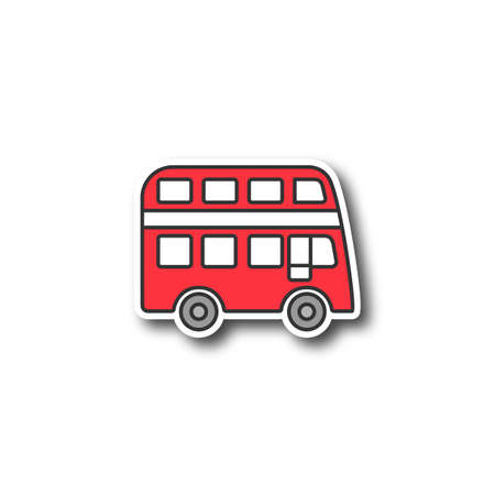 Double decker bus patch. Bus with two storeys. Color sticker. Vector isolated illustration Stock Illustratie