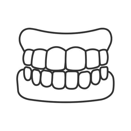 Dentures linear icon. False teeth. Thin line illustration. Human jaw with teeth model. Contour symbol. Vector isolated drawing Ilustração