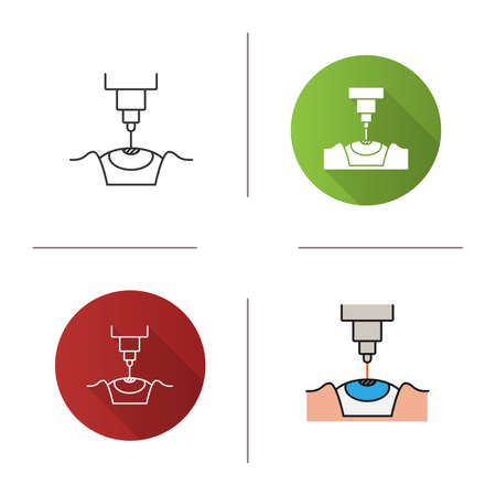 Laser eye surgery icon. Flat design, linear and color styles. Medical ophthalmology. Laser vision correction. Isolated vector illustrations