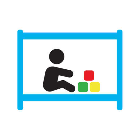 Child playing in playpen silhouette icon. Isolated vector illustration