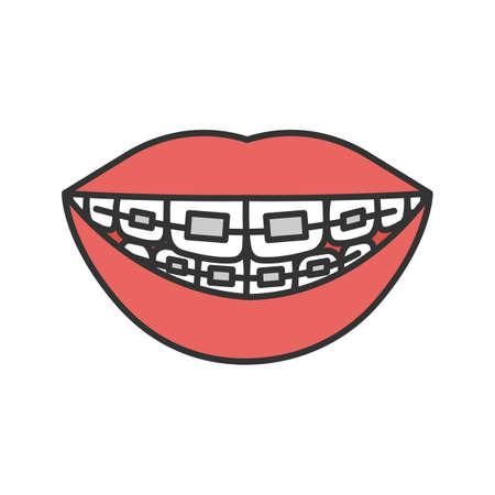 Tandheelkundige accolades kleur pictogram. Tanden uitlijnen. Geïsoleerde vectorillustratie