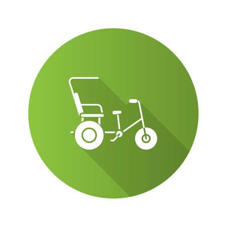 Cycle rickshaw flat design long shadow glyph icon. Velotaxi, pedicab. Vector silhouette illustration