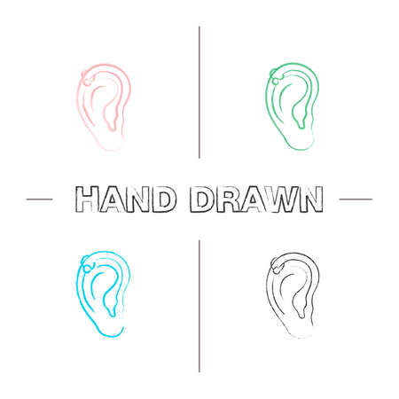 Helix piercing hoop hand drawn icons set. Pierced ear cartilage. Color brush stroke. Isolated vector sketchy illustrations