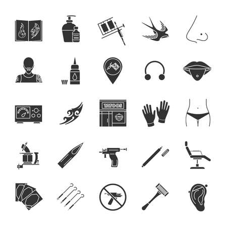 Tattoo studio glyph icons set. Piercing service. Tattoo sketches, instruments and equipment. Silhouette symbols. Vector isolated illustration