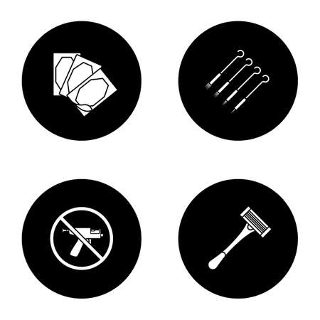Tattoo studio glyph icons set. Piercing service. Medical plaster, tattoo needles, piercing gun prohibition, razor. Vector white silhouettes illustrations in black circles