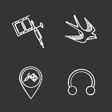 Tattoo studio chalk icons set. Piercing service. Tattoo machine, swallow sketch, studio location, half hoop earring. Isolated vector chalkboard illustrations