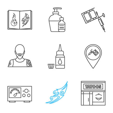 Tattoo studio linear icons set. Thin line contour symbols. Tattoos catalog, aftercare, machine, tattooer, ink, studio location, power supply, sketch, parlour. Isolated vector outline illustrations