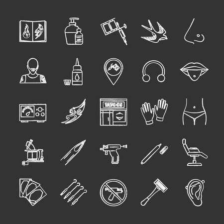 Tattoo studio chalk icons set. Piercing service. Tattoo sketches, instruments and equipment. Isolated vector chalkboard illustrations Illustration