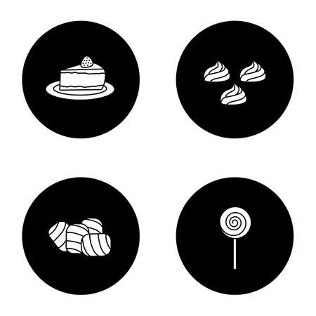 Condectionery glyph icons set. Coffee house menu. Cheesecake, meringues, marshmallow, spiral lollipop. Vector white silhouettes illustrations in black circles
