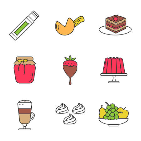 Confectionery color icons set. Chewing gum stick, fortune cookie, tiramisu, berry jam, strawberry in chocolate, pudding, coffee, meringues, fruit. Isolated vector illustrations