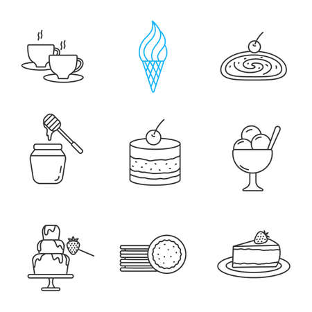 Confectionery linear icons set. Thin line contour symbols. Hot drink, ice cream, strudel, honey jar, tiramisu, chocolate fountain, sandwich cookies, cheesecake. Isolated vector outline illustrations