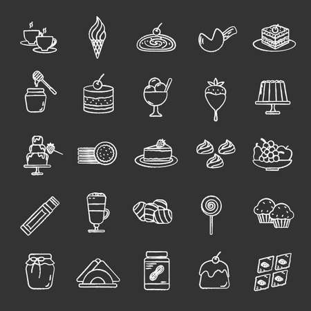 Confectionery chalk icons set. Coffee house menu. Sweets, cakes, hot drinks, desserts. Isolated vector chalkboard illustrations