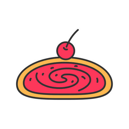 Cherry strudel color icon. Swiss roll with jam. Isolated vector illustration