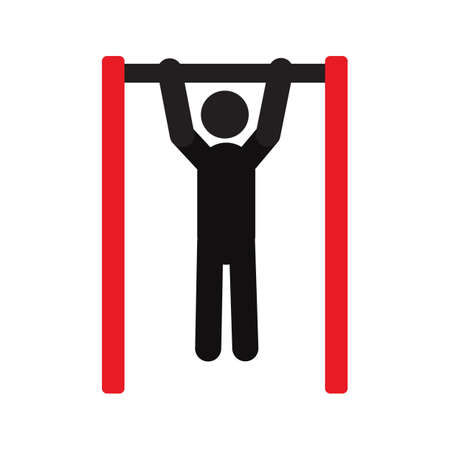 Man doing pull ups silhouette icon. Training with horizontal bar. Isolated vector illustration