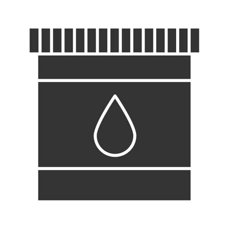 Printer cartridge ink glyph icon. Silhouette symbol. Plastic bottle with drop. Negative space. Vector isolated illustration Illustration