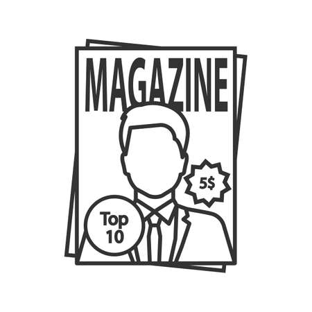 Magazine linear icon. Thin line illustration. Tabloid. Periodical publication with celebrity photo. Contour symbol. Vector isolated outline drawing