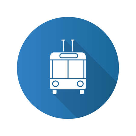 Trolleybus in front view flat design long shadow glyph icon. Trolley coach. Trackless trolley. Vector silhouette illustration