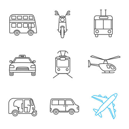 Public transport linear icons set. Double decker bus, scooter, trolleybus, taxi, tram, helicopter, auto rickshaw, minivan, airplane. Thin line contour symbols. Isolated vector outline illustrations