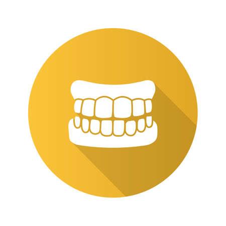 Dentures flat design long shadow glyph icon. False teeth. Human jaw with teeth model. Vector silhouette illustration