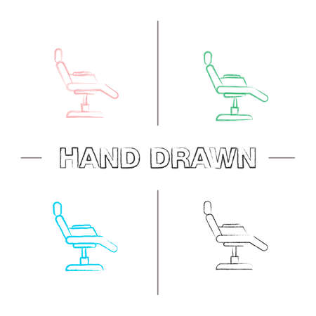Tattoo chair hand drawn icons set. Color brush stroke. Isolated vector sketchy illustrations