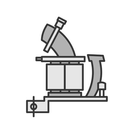 Tattoo machine frame with coils color icon. Tattoo gun. Isolated vector illustration