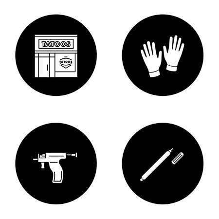 Tattoo studio glyph icons set. Piercing service. Tattoo parlour exterior, medical gloves, piercing gun, highlighter. Vector white silhouettes illustrations in black circles Illustration