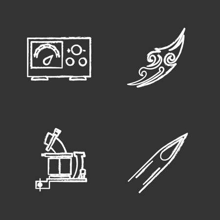Tattoo studio chalk icons set. Piercing service. Power supply, tattoo machine, sketch, ink needle tip. Isolated vector chalkboard illustrations