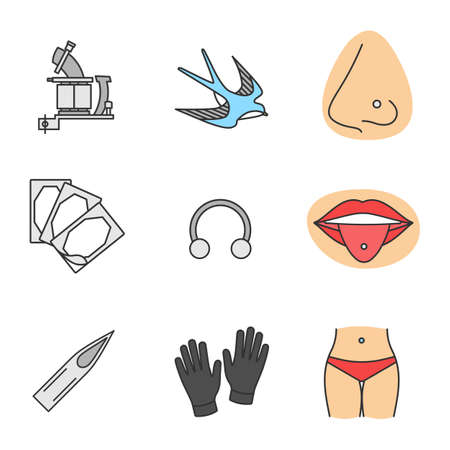 Tattoo studio color icons set. Tattoo machine, swallow sketch, pierced nose and tongue, repair sticker, half hoop ring, needle tip, medical gloves, navel piercing. Isolated vector illustrations
