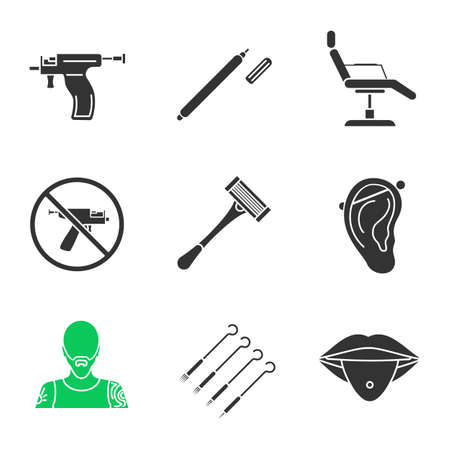 Tattoo studio glyph icons set. Highlighter, tattoo chair, piercing gun prohibition, razor, pierced ear and tongue, tattooist, ink needles pack. Silhouette symbols. Vector isolated illustration