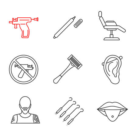 Tattoo studio linear icons set. Highlighter, tattoo chair, piercing gun prohibition, razor, pierced ear and tongue, tattooist, needles. Thin line contour symbols. Isolated vector outline illustrations Illustration