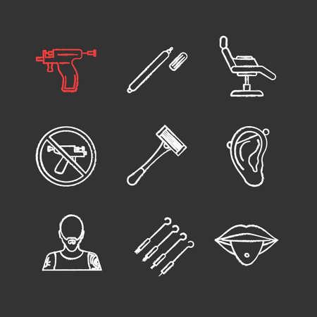 Tattoo studio chalk icons set. Piercing service. Highlighter, tattoo chair, piercing gun prohibition, razor, pierced ear and tongue, tattooist, ink needles. Isolated vector chalkboard illustrations Illustration