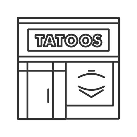 Tattoo studio facade linear icon. Thin line illustration. Tattoo parlour exterior. Contour symbol. Vector isolated outline drawing