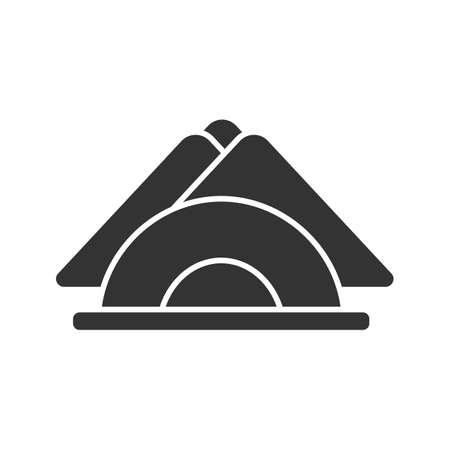 Tischservietten Glyphensymbol. Serviettenhalter. Schattenbildsymbol. Negativer Raum. Vektor isolierte Illustration
