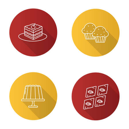 Condectionery flat linear long shadow icons set. Coffee house menu. Tiramisu, cupcakes, jelly pudding, baklava. Vector outline illustration