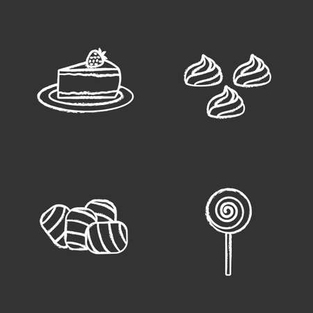 Condectionery chalk icons set. Coffee house menu. Cheesecake, meringues, marshmallow, spiral lollipop. Isolated vector chalkboard illustrations