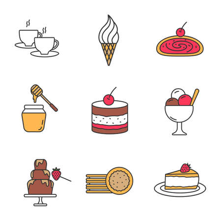 Confectionery color icons set. Hot drink, ice cream, strudel, honey jar, tiramisu, chocolate fountain, sandwich cookies, cheesecake. Isolated vector illustrations Illustration