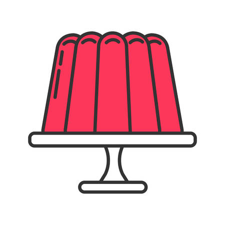Jelly pudding color icon. Gelatin dessert. Isolated vector illustration