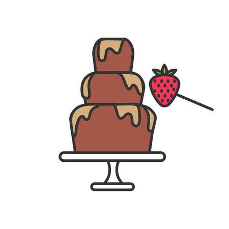 Fontana di cioccolato e icona di colore fragola. Fonduta. Illustrazione vettoriale isolato