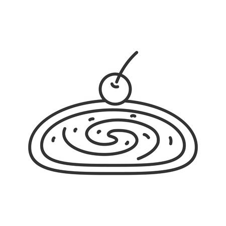 Cherry strudel linear icon. Thin line illustration. Swiss roll with jam. Contour symbol. Vector isolated outline drawing