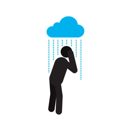 Man standing under pouring rain silhouette icon. Person getting wet. Depression. Rainy weather. Isolated vector illustration
